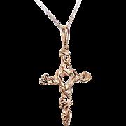 Vintage 14K Gold Cross Pendant (Heart Center) on a 10K Gold Fine Link Chain