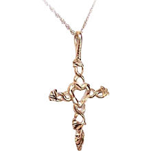 Vintage 14K Gold Cross Pendant (Heart Center) on a 10K Gold Fine Link Chain - Red Tag Sale Item