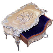 RARE Antique Edwardian WILLIAM COMYNS Sterling Silver Jewelry Box on Legs!