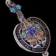 RARE Art Nouveau FRENCH SILVER & Enamel Heart Shaped Locket/Pendant or Reliquary!