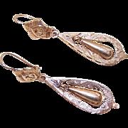 VICTORIAN REVIVAL 14K Rose Gold Drop Earrings (Pierced Ears)!