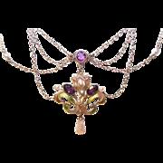 ART NOUVEAU 12K Gold, Enamel, Amethyst & Natural Pearl Festoon Necklace!