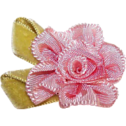 Vintage FRENCH Handmade Ribbon Rose - Pink Ombre with Lime Green Velvet Leaves!
