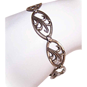 Modernist STERLING SILVER Link Bracelet - Stylized Leaf Design!