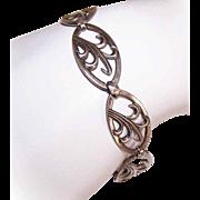 Modernist STERLING SILVER Link Bracelet - Stylized Leaf Design!