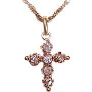 ANTIQUE Victorian 14K Gold & .36CT TW Old Cut Diamond Cross Pendant!
