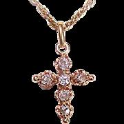 ANTIQUE Victorian 14K Gold & .36CT TW Old Cut Diamond Cross Pendant!