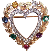 Vintage TRIFARI Gold Tone Heart Pin with Rhinestones - Old Store Stock from Gimbel's Dept Store - Original Price Tag!