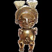 Vintage ALVA STUDIOS Pre Colombian Bronze Colored Figure Pin/Brooch!