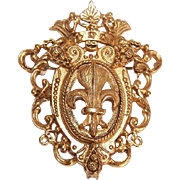 Vintage RICHELIEU Gold Tone Metal Costume Pin - French Fleur de Lis & Crown!