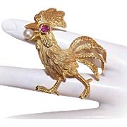 Modernist EUROPEAN 18K Gold, Ruby & Cultured Pearl Pin/Brooch - Strutting Chanticleer, Coq d'Or or Rooster!