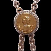 French ART NOUVEAU 18K Gold & Rose Cut Diamond Necklace Slide/Necklace Enhancer!