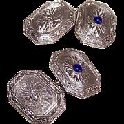 ART DECO 14K Gold, .10CT TW Diamond & .12CT TW Cab Sapphire Cufflinks * Cuff Links!