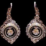 Adorable VICTORIAN REVIVAL 14K Gold & .04CT TW Diamond Drop Earrings!