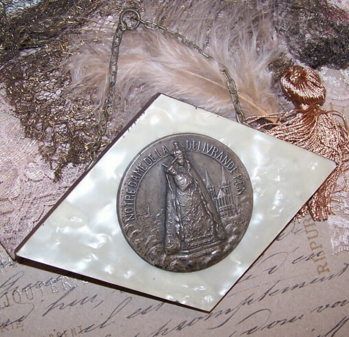 1930s FRENCH Bakelite and Wood Religious Plaque - Virgin & Child!