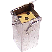 Vintage STERLING SILVER Mechanical Charm - Pair of Dice in Silver Box Container!