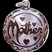 Vintage STERLING SILVER Disc Charm - Mother!
