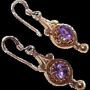 Antique Victorian 10K Gold & 1.90CT TW Amethyst Drop Earrings!
