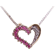 Vintage STERLING SILVER, Ruby & Accent Diamond Heart Pendant!