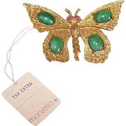 Vintage COSTUME Butterfly Pin - Gold Tone Metal, Green Cabs & Red Rhinestones - Original Price Tag!