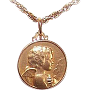 C.1930 FRENCH 18K Gold Religious Medal - Lovely Guardian Angel, Putti or Cherub!