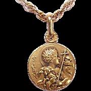 C.1930 FRENCH 18K Gold Religious Medal - Infant Saint John the Baptist!