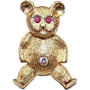 ESTATE 18K Gold, .18CT TW Diamond & Ruby Pin of a Teddy Bear!