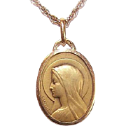 C.1930 FRENCH 18K Gold Religious Medal - Holy Virgin Mary by André Henri Lavrillier!