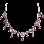 Rare C.1900 MARIUS HAMMER 930 Silver & PINK Enamel Filigree Drop Necklace!