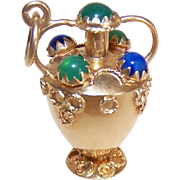 Vintage Italian 18K Gold and Multi-Gemstone Charm or Pendant by Corletto - Vase or Urn
