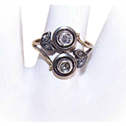 ANTIQUE VICTORIAN 18K Gold, Sterling Silver & Rose Cut Diamond Ring!