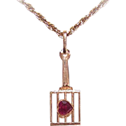 Vintage FRENCH 18K Gold & Red Topaz Charm - Heart on a Griddle!