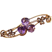 ANTIQUE VICTORIAN 12K Gold, Amethyst & Pearl Sweetheart Pin - Trio of Hearts to Form a  Shamrock!