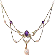 ART NOUVEAU 14K Gold, Amethyst & Natural Pearl Festoon Necklace!