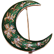 ANTIQUE VICTORIAN 14K Gold, Diamond & Enamel Crescent Moon Pin/Brooch!