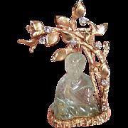ART DECO 14K Gold, Diamond & Translucent Jade Pin/Brooch - Seated Asian Gent (Buddha) Under Tree!