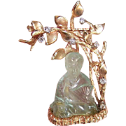 ART DECO 14K Gold, Diamond & Translucent Jade Pin/Brooch - Seated Asian Gent (Buddha) Under Tree!