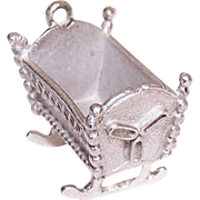 Vintage STERLING SILVER Charm - Rocking Cradle for Baby (Lg Size)!