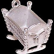 Vintage STERLING SILVER Charm - Rocking Cradle for Baby (Lg Size)!