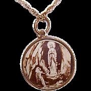 C.1900 FRENCH Gold Filled & Celluloid Charm/Pendant - Saint Bernadette/Virgin Mary/Lourdes!