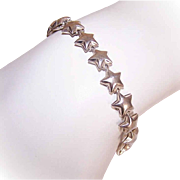 Vintage ITALIAN Sterling Silver Link Bracelet - Lots of Stars!