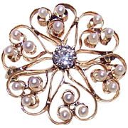 ANTIQUE VICTORIAN 14K Gold, .50CT Diamond & Natural Pearl Pin/Pendant - HEART Burst Design!