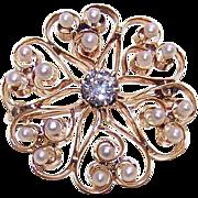 ANTIQUE VICTORIAN 14K Gold, .50CT Diamond & Natural Pearl Pin/Pendant - HEART Burst Design!