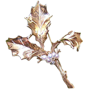 Merry Christmas! CUSTOM MADE 14K Gold & Cultured Pearl Pin/Brooch - A Sprig of Holly!