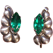 RETRO MODERN Sterling Silver & Green Rhinestone Screwback Earrings!