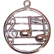 Vintage STERLING SILVER Charm by Beau - Treble Clef with Single Musical Note!