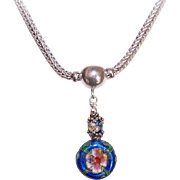 "Vintage STERLING SILVER 16"" Foxtail Chain with Silver & China Enamel Beads!"