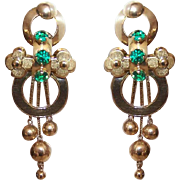 ANTIQUE GEORGIAN 18K Gold & Emerald Green Paste Drop Earrings with Dangles!