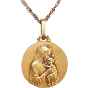 C.1930 FRENCH 18K Gold Religious Medal by Emile Dropsy - Madonna & Child (Virgin Mary & Infant Jesus)!