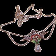 Ravishing ART NOUVEAU 14K Gold, Enamel & Natural Pearl Festoon Necklace!